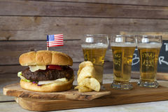Craft Beer With Hamburger Stock Photos