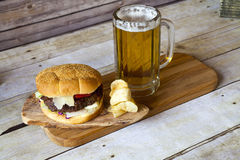 Craft Beer With Hamburger Stock Photography