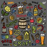 Craft beer hand drawn elements set. Outline colorful icons of craft beer things. Craft beer info graphics for your design. Home brewing, crafted beer. Colorful stock illustration