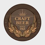 Craft beer label. Vector craft beer label decorated with wheat and hops Royalty Free Stock Images