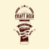 Craft beer label. Vintage grunge style beer poster. Vector illustration. Stock Photography