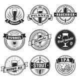 Craft beer labels. Traditional german, belgian and british beer styles. Weissbier, pilsner, rauchbier, dubbel, blanche, fruit lambic, brown ale, stout and IPA royalty free illustration