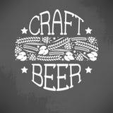 Craft beer logo. Illustration of decorative monochrome craft beer logo Royalty Free Stock Photos