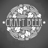 Craft beer logo. Illustration of decorative monochrome craft beer logo stock illustration