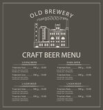 Craft beer menu with brewery building Royalty Free Stock Photography