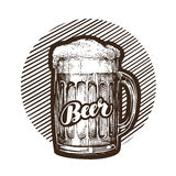 Craft beer mug with foam. Sketch vector illustration. Isolated on white background Stock Images