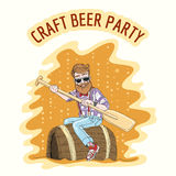Craft Beer Party. Emblem. Hipster with an oar floats on a beer barrel. Free font used royalty free illustration