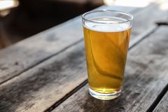 Craft Beer Glass. A Craft Beer Pint from a Local Brewery on a Table royalty free stock images