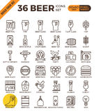 Craft Beer pixel perfect outline icons Royalty Free Stock Photography