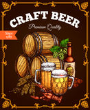 Craft beer pub bar vector retro poster Royalty Free Stock Photos