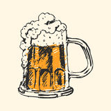 Craft beer and pub sketch vector illustration. Royalty Free Stock Image