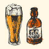 Craft beer and pub sketch vector illustration. Royalty Free Stock Photo