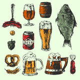Craft beer and pub sketch vector illustration. Creative beer set with mug, bottle, wheat and hop elements. Vector illustration. Hand drawing graphic objects Stock Photo