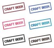 Craft beer rectangular stamp collection. stock illustration