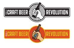 Craft Beer Revolution vector badge or label design. Stock Illustration