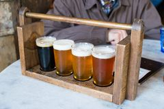 Craft Beer Sampler Four Glasses royalty free stock photo