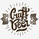 Craft Beer Script Lettering Logo With Sunrise And Hops Illustrat. Ion. Vector Graphic.r Stock Photography