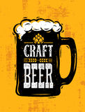 Craft Beer Sold Here Rough Banner. Vector Artisan Beverage Illustration Design Concept On Grunge Distressed Background.  Royalty Free Stock Photos