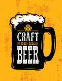Craft Beer Sold Here Rough Banner. Vector Artisan Beverage Illustration Design Concept On Grunge Distressed Background.  vector illustration