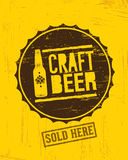 Craft Beer Sold Here Rough Banner. Vector Artisan Beverage Illustration Design Concept On Grunge Distressed Background.  Royalty Free Stock Photography