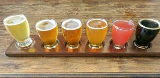 Craft Beer Tasting Flight of Six Beers royalty free stock image