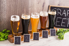 Free Craft Beer Tasting Wood Background. Stock Images - 88590654