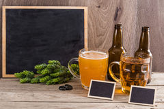 Craft Beer Tasting Wood Background. Royalty Free Stock Photography