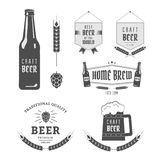 Craft beer. Vintage label set craft beer. Brewery emblems and design elements stock illustration