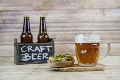 Craft Beer. With Wooden Background stock images