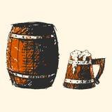 Craft beer wooden barrel pub sketch vector illustration. Stock Photography