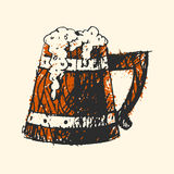 Craft beer wooden pub sketch vector illustration. Royalty Free Stock Image