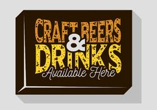 Craft Beers And Drinks Typographic Sign Design For Pubs Restaurants Bars For Promotion. Vintage Aesthetic Influenced. Stock Photography