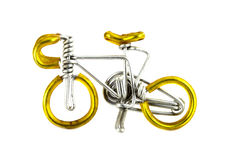 Craft bicycle on white background Royalty Free Stock Photos