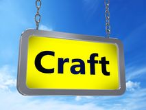 Craft on billboard. Craft on yellow light box billboard on blue sky background Stock Photography