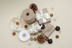 Craft Box, Christmas Concept, Pinecones and Nuts on Rustic Wooden table. Cristmas Eco style composition. stock photos