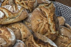 Craft bread loaves. Prepared for sale royalty free stock image