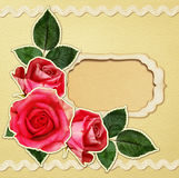 Craft card with rose flowers and a frame Stock Photos