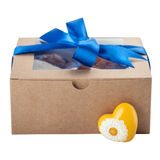 Craft cardboard box with blue ribbon Stock Image