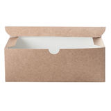Craft cardboard box with open flip lid Stock Photo