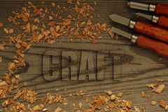 Craft carved in wood Stock Photos