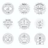 Craft clothes studio, sewing workshop logo. And tailor emblems vintage vector set. Pin and handicraft, needlecraft emblem illustration Stock Photos