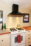 Craft cozy White kitchen with white stove Stock Image