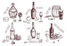 Craft Drink Sketch Elements Set Stock Image