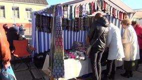Craft fair people stock video