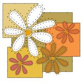 Craft Flowers Quilt Background vector illustration