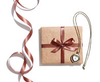 Craft gift box with vintage watches Royalty Free Stock Photos