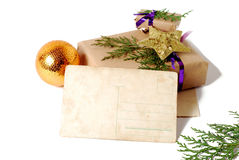 Craft gift boxes with greeting card for text. Christmas, New Year holiday background Stock Photos