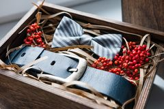 Beautiful gifts, a belt and a bow tie Royalty Free Stock Images