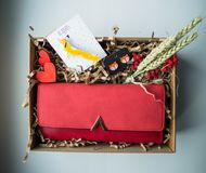 Beautiful gifts, a purse, cosmetics and a brooch Stock Image