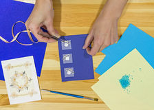 Craft greeting card. Income from hobbies. Home business. Royalty Free Stock Photography